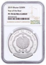 2019 Kingdom of Bhutan 1 oz Silver Lunar Year Boar Coin 200N NGC PF70 SKU56300
