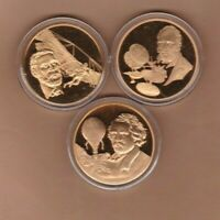 THREE HISTORY OF MAN IN FLIGHT BRONZE MEDALS WITH CAPSULES NEAR MINT CONDITION