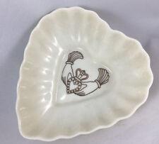 Irish Belleek Heart Dish Fine Porcelain Ruffle Gold Mark Claddagh Ring