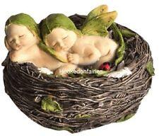Miniature Garden Sleeping Twin Fairy Babies in Nest 4207 Faerie