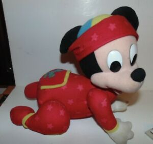 """MICKEY MOUSE BABY Touch and Crawl 11"""" Doll Vtg Disney 1999 Mattel Stuffed Toy"""