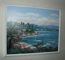 "Original Oil Painting on Canvas ""Villas on the Meddertain Coast"" By Sung Kim"