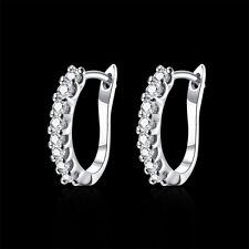 18k 18ct White Gold Filled GF CZ Hoop Hoggies Wedding Woman Earrings E-A563
