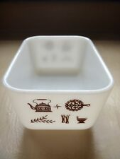 Pyrex Early American refrigerator dish rectangle white brown milk glass 1.5 pint