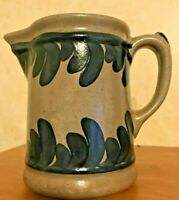 Pottery Liquid Pitcher Vintage 1991 Blue Handmade & signed Heavy & Precise