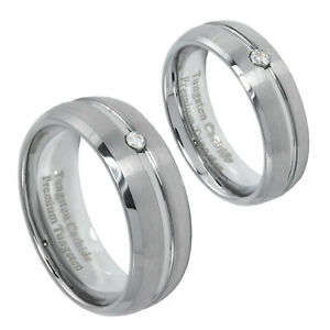 8mm or 6mm Ring Brushed Tungsten CZ Channel Inset Szs 4 - 15 Men Women Clearance