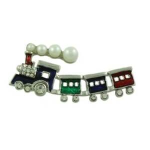 Enamel and Crystal Christmas Train with Pearl Smoke Brooch Pin - XP404