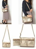 LeSportsac JPN Exclusive DELUXE SHOULDER SATCHEL BAG Champagne Gold Glitter EMS