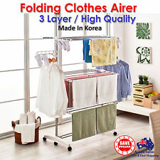 Folding Clothes Laundry Airer Dryer Drying Rack Hanger Garments Made In Korea