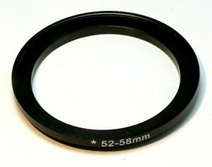 52mm to 58mm Step-up ring Metal adapter double threaded for lens filter