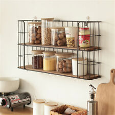 Vintage Wall Unit Metal Wire Wood Industrial Shelf Rack Basket Storage Display