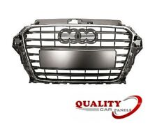 FRONT MAIN GRILLE BLACK WITH CHROME MOULDING AUDI A3 2012-2016 HIGH QUALITY NEW
