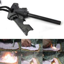 Portable Magnesium Rod Flint Stone Fire Starter Lighter w Ruler Bottle Opener
