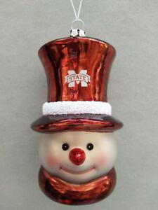 Mississippi State Bulldogs Glass Snowman Head Christmas Ornament
