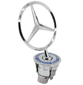 Mercedes Logo Emblem Decal Star Front Bonnet Hood Badge Ornament Silver Blue