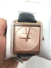 New Michael Kors MK2611 Lake Rose Gold Glitz Black Leather 39mm Square Watch