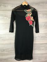 ATMOSPHERE BLACK SHEER LONG SLEEVE HIGH NECK FLORAL MIDI DRESS SIZE 10 7909