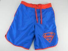 Superman M Medium Mens Shorts Blue Snap Zipper Fly Logo Mesh Lined Drawstring