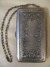 Antique Art Nouveau Floral Silver P Card Case Coin Holder Powder Compact Purse 2
