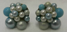 Blue Cluster Clip On Back Earrings Stacked Pearl Japan Vintage Costume Fashion