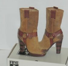 Frye Harmony Short Harness Tan Brown Waxed Suede Lays Boots Shoes 8.5