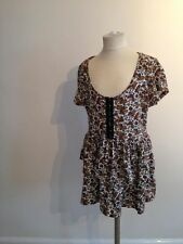 VGC brown blue white ra ra frill dress style long top floral pretty size 8 10