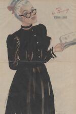 """""""PIN-UP LECTRICE"""" Affiche originale entoilée Offset Roger BRARD 1950-51 34x51cm"""