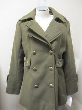 Jessica Simpson Double Collar Peacoat L Olive NWT