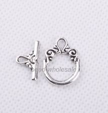 Wholesale 30sets Tibetan silver Decorative Pattern Toggle Clasp Findings