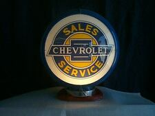 gas pump globe CHEVROLET & LIGHT STAND NEW reproduction 2 glass lens