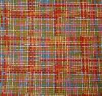 Woven Line Plaid Print BTY Unbranded Red Yellow Blue Green Teal on Coral