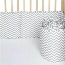 Baby American Co. Unisex Cotton Percale Crib Bumper Zigzag Grey 28x52 Standard