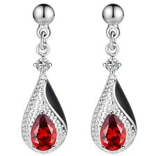 Silver Plated And Black Enamel Tear Drop Earrings With Red Cubic Zirconia Gems