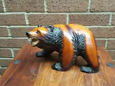 Large Hand Carved Heavy Wooden Black Forest Bear