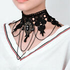 Women Gothic Flower Lace Choker Beads Necklace Crystal Pendant Chain Jewelry Hot