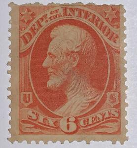 Travelstamps: US  Stamps Scott #O18, 6 cents,Dept of Interior, Mint, Og, Hinged