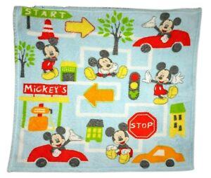DISNEY Baby Mickey Mouse Vehicles Car Fleece Blanket Blue Streets Map Soft EUC