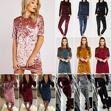UK Womens Casual Tops Mini Dress Jumpsuit Ladies Loose Crushed Velvet Tracksuit