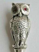 More details for antique rare large silver owl shoe horn glass eyes birmingham c1906