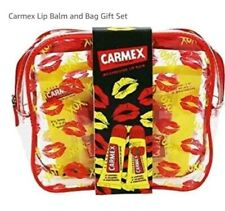 Carmex Duo Lip Balm Gift Set with makeup bag red lip print strawberry & classic
