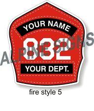 "Fire Helmet Shield sticker - Style 5 - Custom just for You! 3.7""x4"""