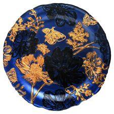 PAPILLON Set/4 Glass Salad Plates Indigo/Gold/Black