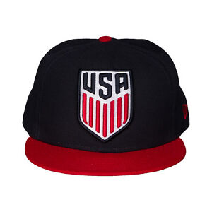 New USA US Soccer New Era 59Fifty Grand Logo Navy Red Fitted Size 7 Hat Cap