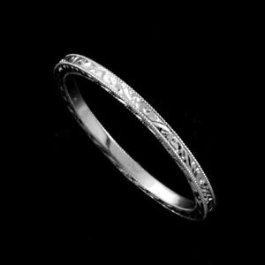 Eternity Straight Stackable Platinum 950 Hand Engraved Thin Wedding Band 1.4mm