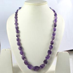 Natural Certified Purple Amethyst Necklace Leaf Carved Gemstone 12-22 Mm