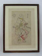 SIGNED ORIGINAL ANTIQUE VINTAGE JAPANESE PEN & INK DRAWING GEISHA ORIENTAL ART