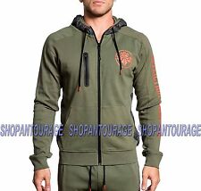 Affliction Espace Course 1ASOW147 Neuf Hommes`S Olive Sport Zip Capuche