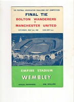 1958  FA Cup Final----Bolton v Manchester United  PLUS Songsheet