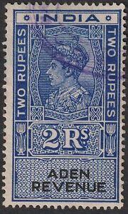 Aden 1945 KGVI Revenue 2r Blue and Black Used BF20