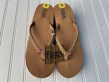 "Flojos Hayley 2.5"" Wedge Braided Thong Sandals Flip Flip Womens 9 Brown Leather"